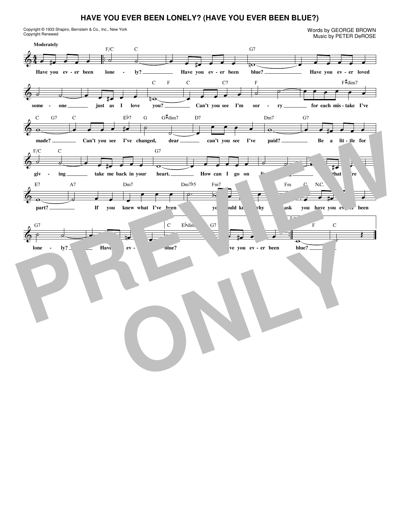 Have You Ever Been Lonely? (Have You Ever Been Blue?) (Lead Sheet / Fake Book)