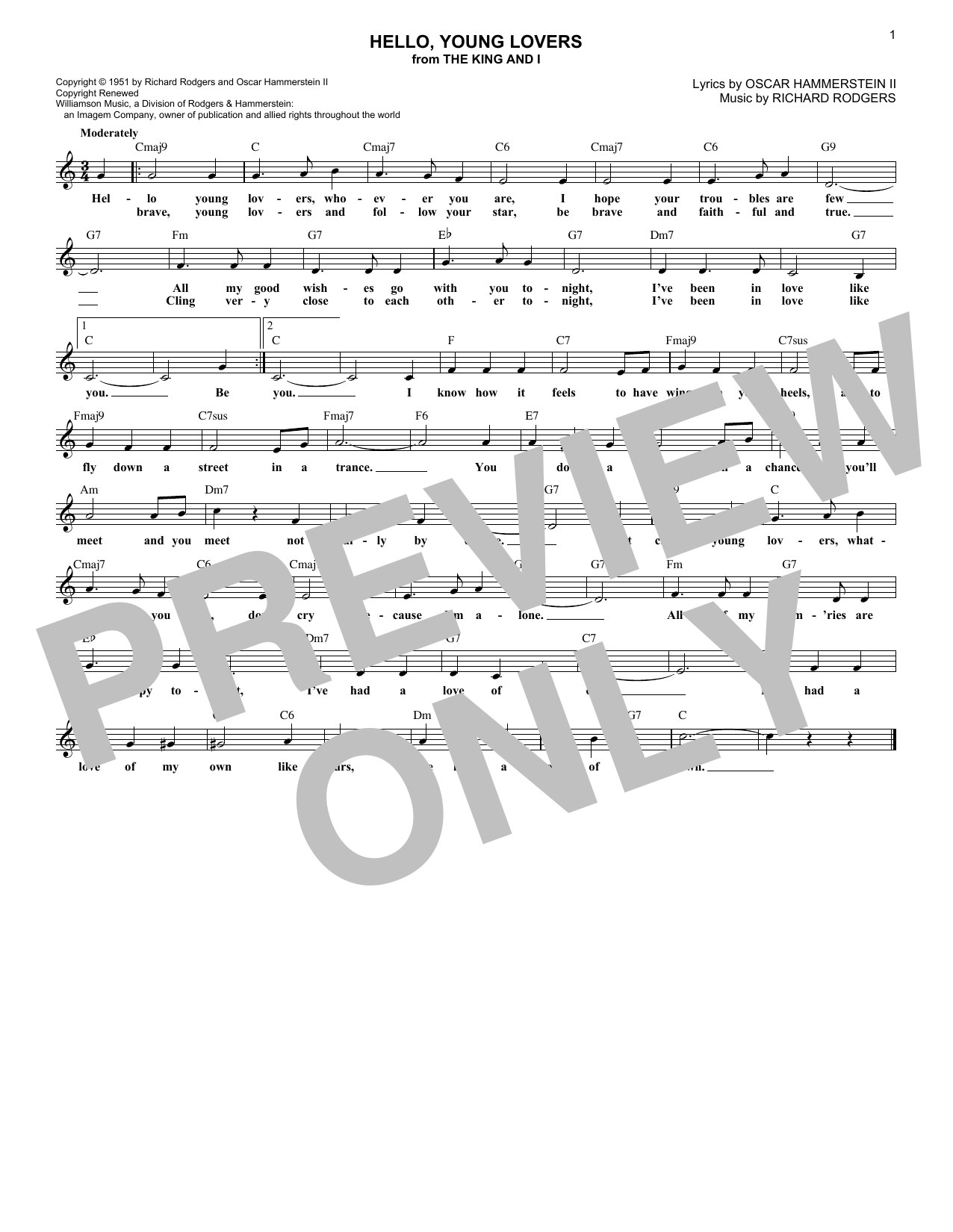 Hello, Young Lovers (Lead Sheet / Fake Book)
