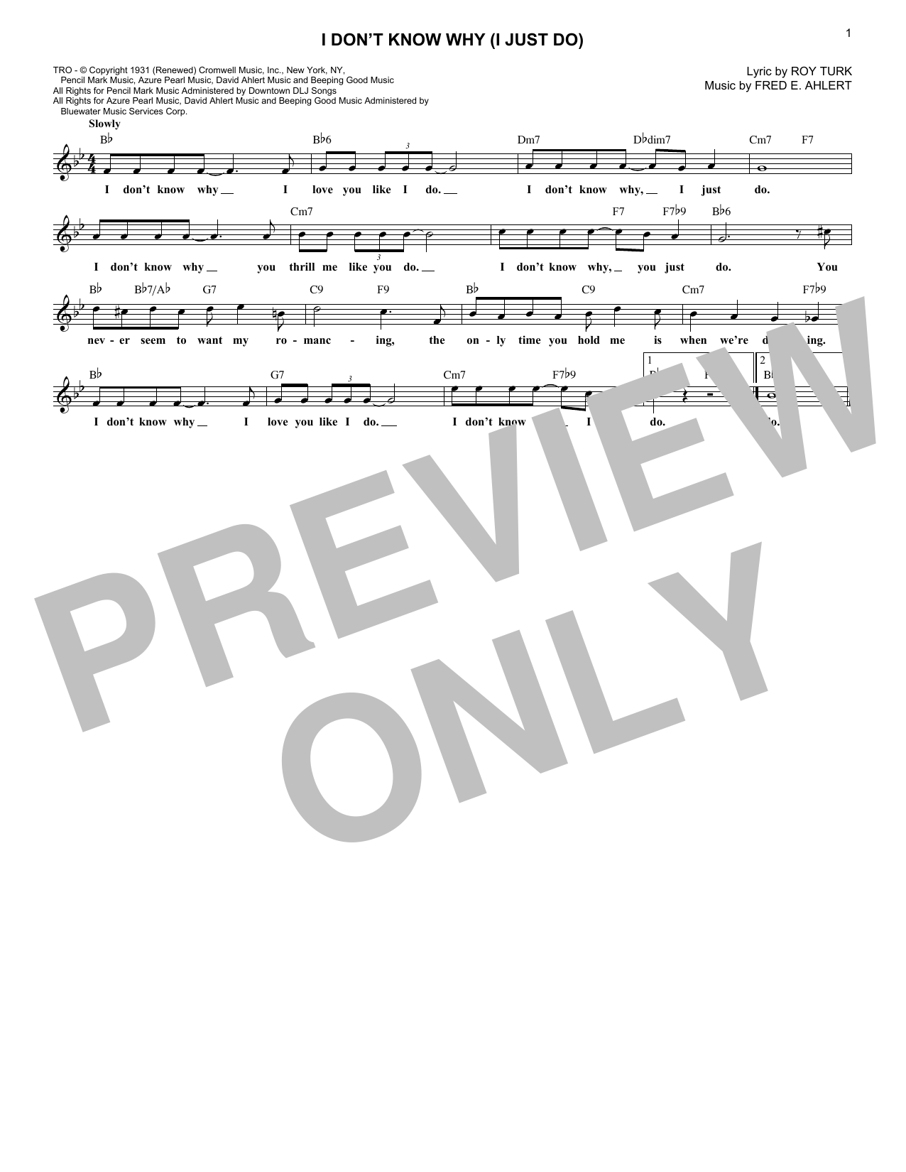 I Don't Know Why (I Just Do) (Lead Sheet / Fake Book)