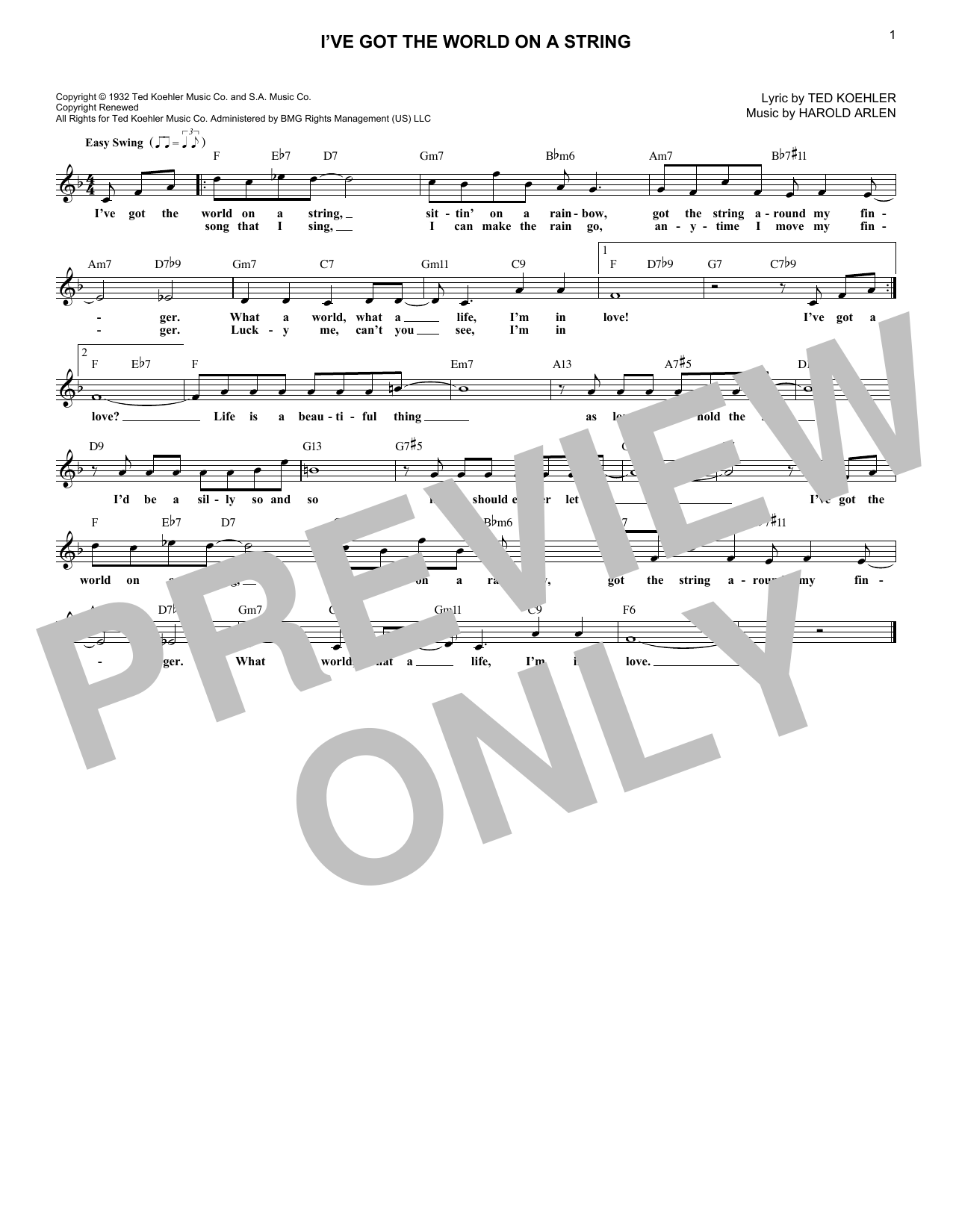 I've Got The World On A String (Lead Sheet / Fake Book)