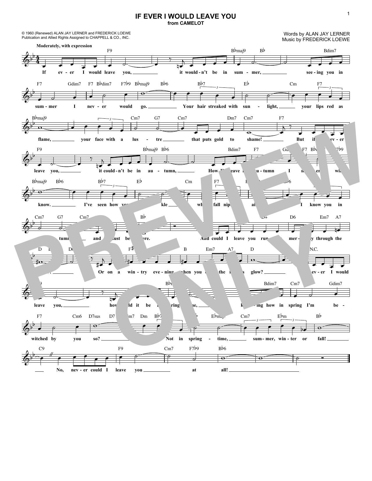 If Ever I Would Leave You (Lead Sheet / Fake Book)