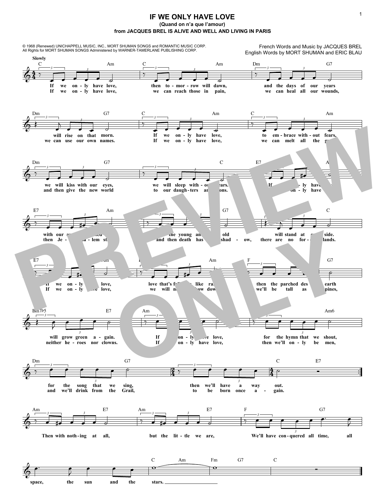 If We Only Have Love (Quand On N'a Que L'amour) (Lead Sheet / Fake Book)