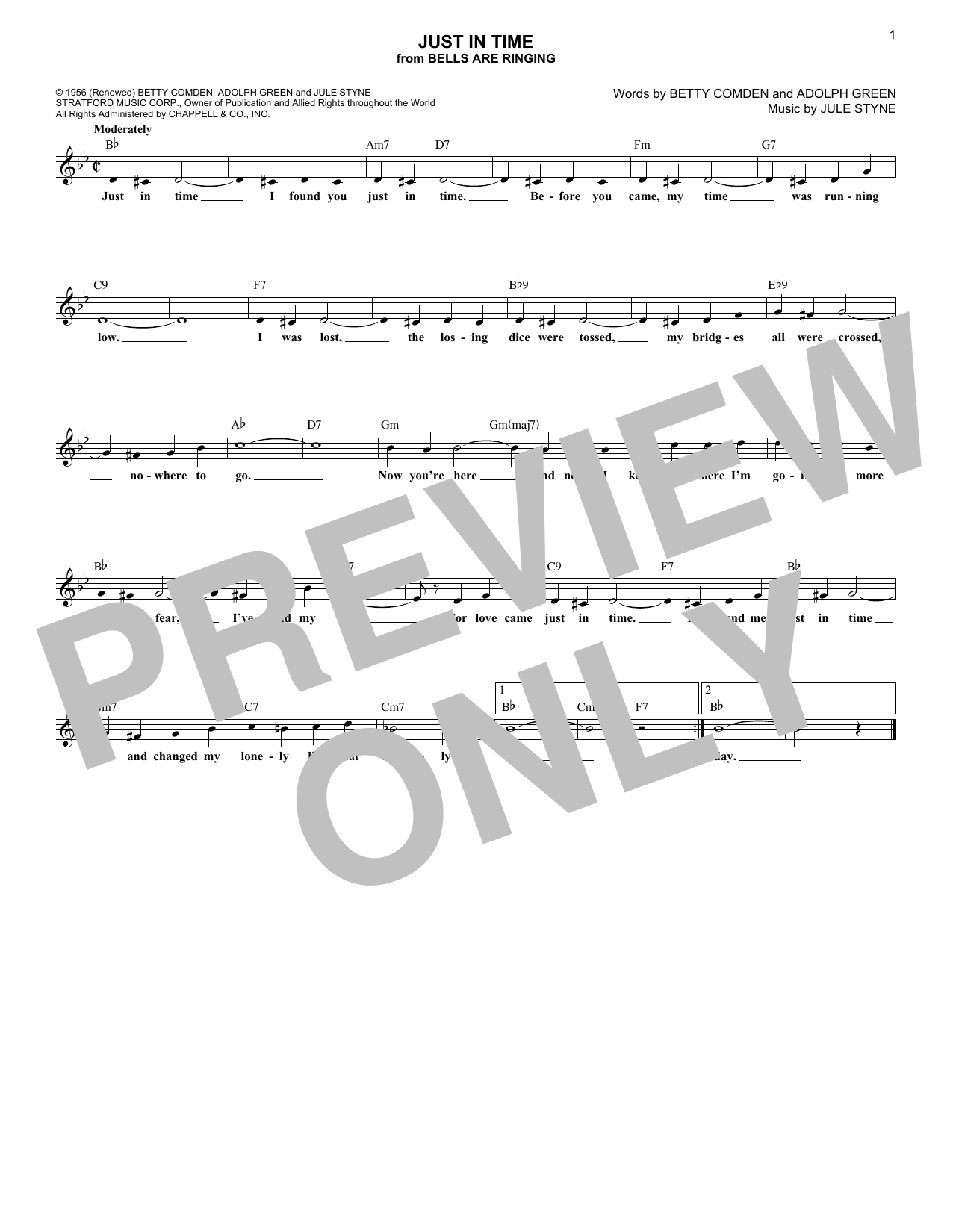 Just In Time (Lead Sheet / Fake Book)