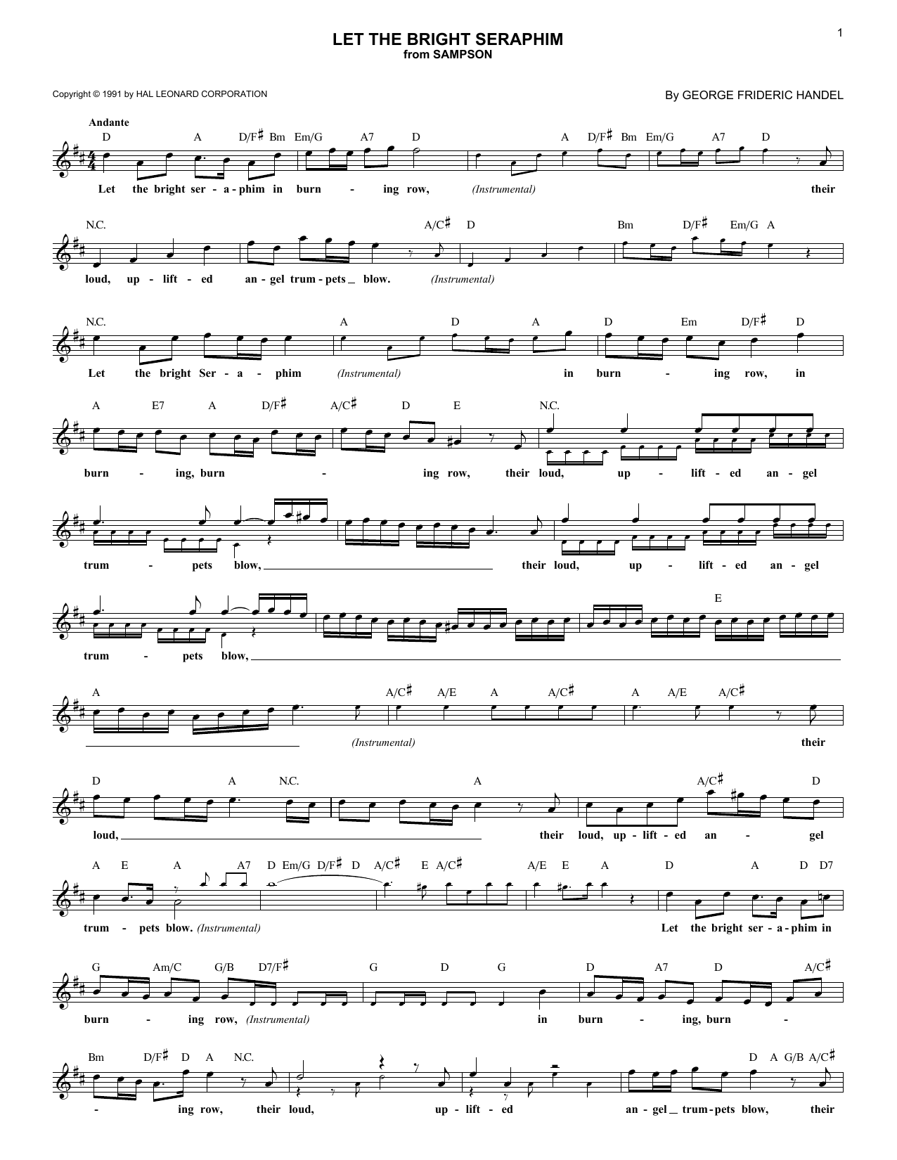 Let The Bright Seraphim (Lead Sheet / Fake Book)