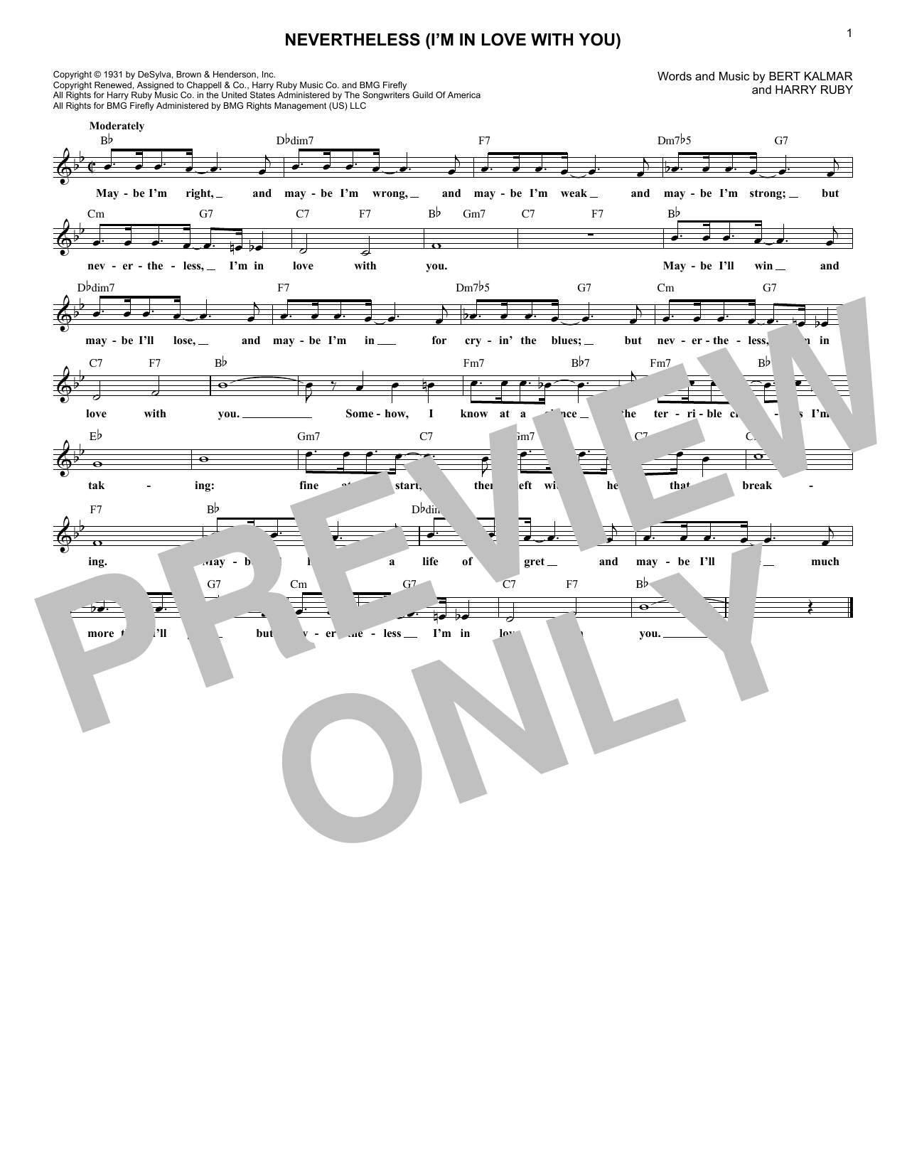 Nevertheless (I'm In Love With You) (Lead Sheet / Fake Book)
