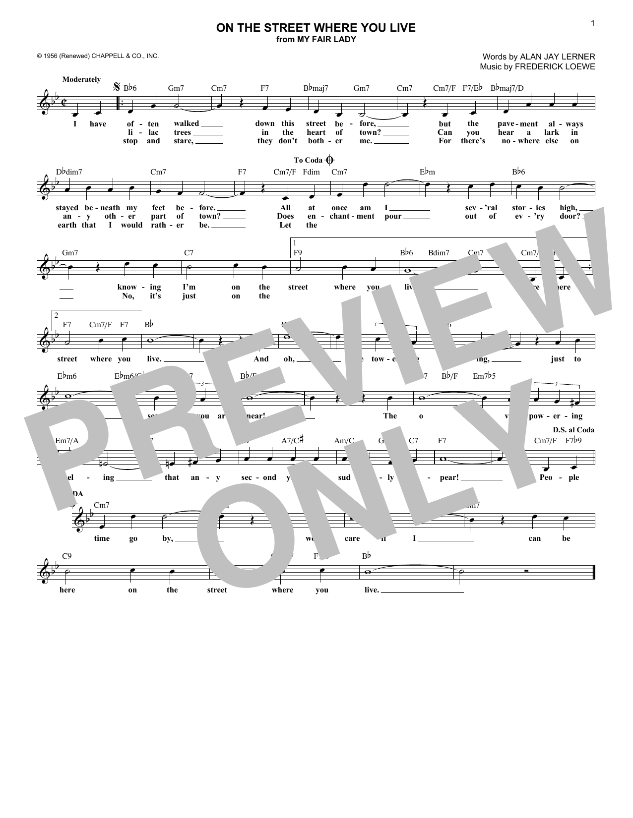 On The Street Where You Live (Lead Sheet / Fake Book)