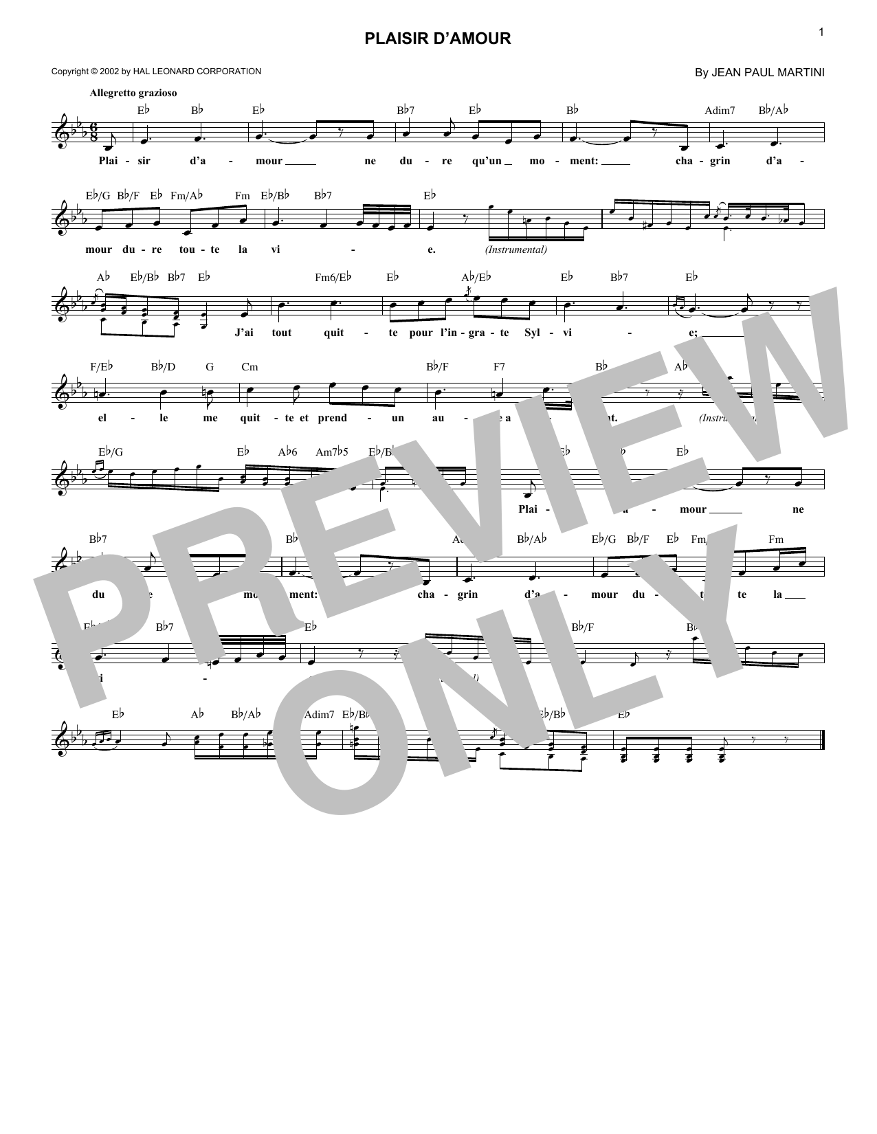 Plaisir D'Amour (Lead Sheet / Fake Book)