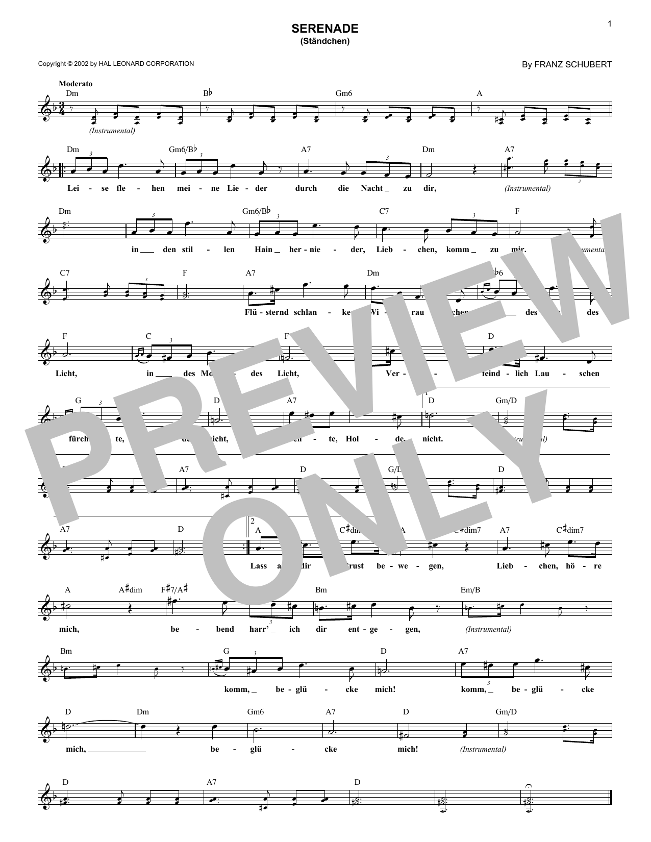 Serenade (Ständchen) (Lead Sheet / Fake Book)