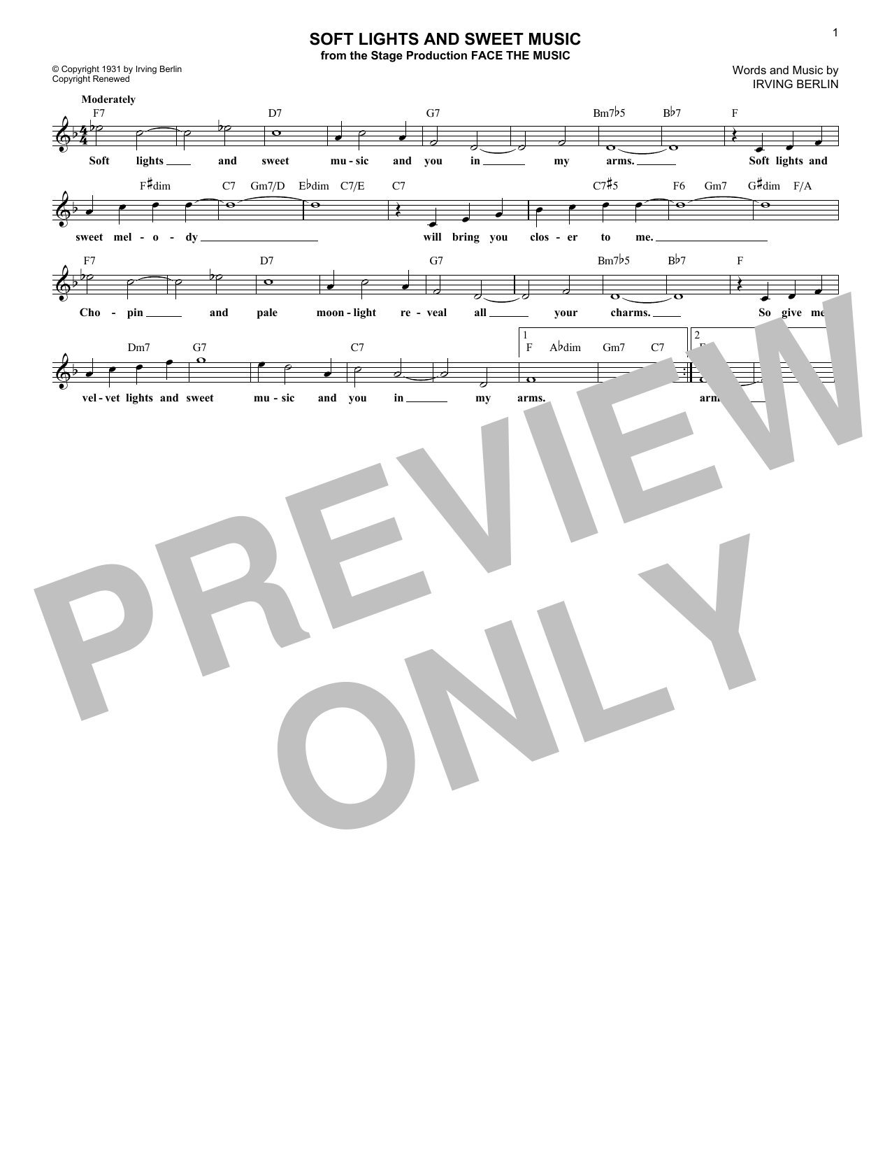 Soft Lights And Sweet Music (Lead Sheet / Fake Book)