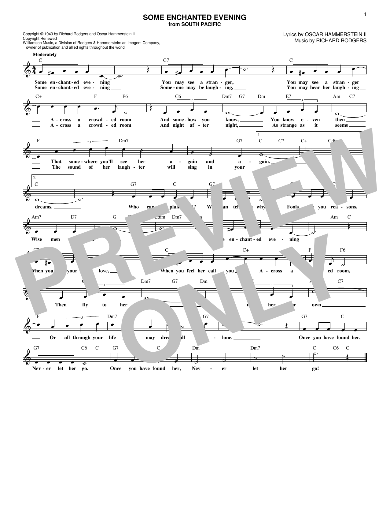 Some Enchanted Evening (Lead Sheet / Fake Book)