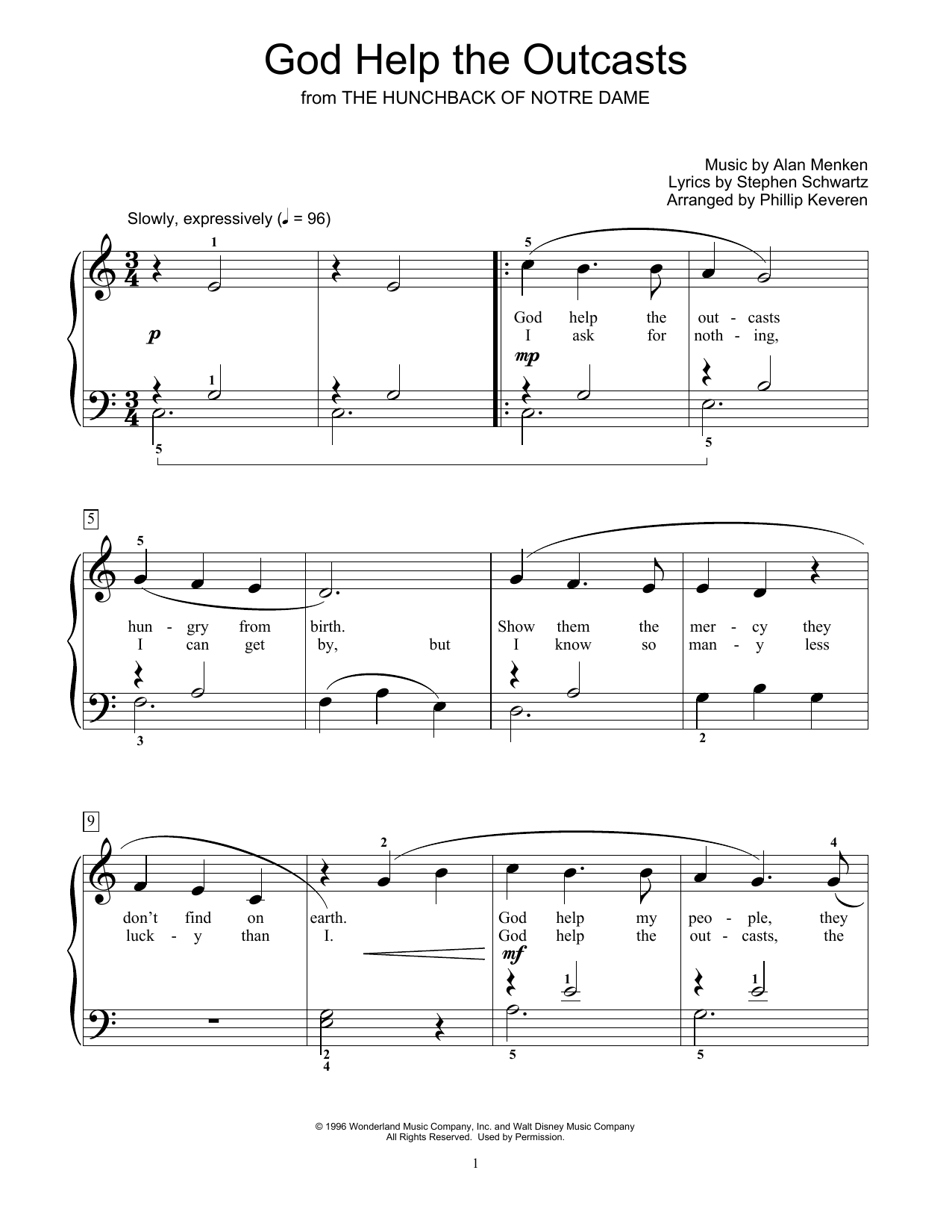 God Help The Outcasts (from The Hunchback Of Notre Dame) (arr. Phillip Keveren) (Educational Piano)