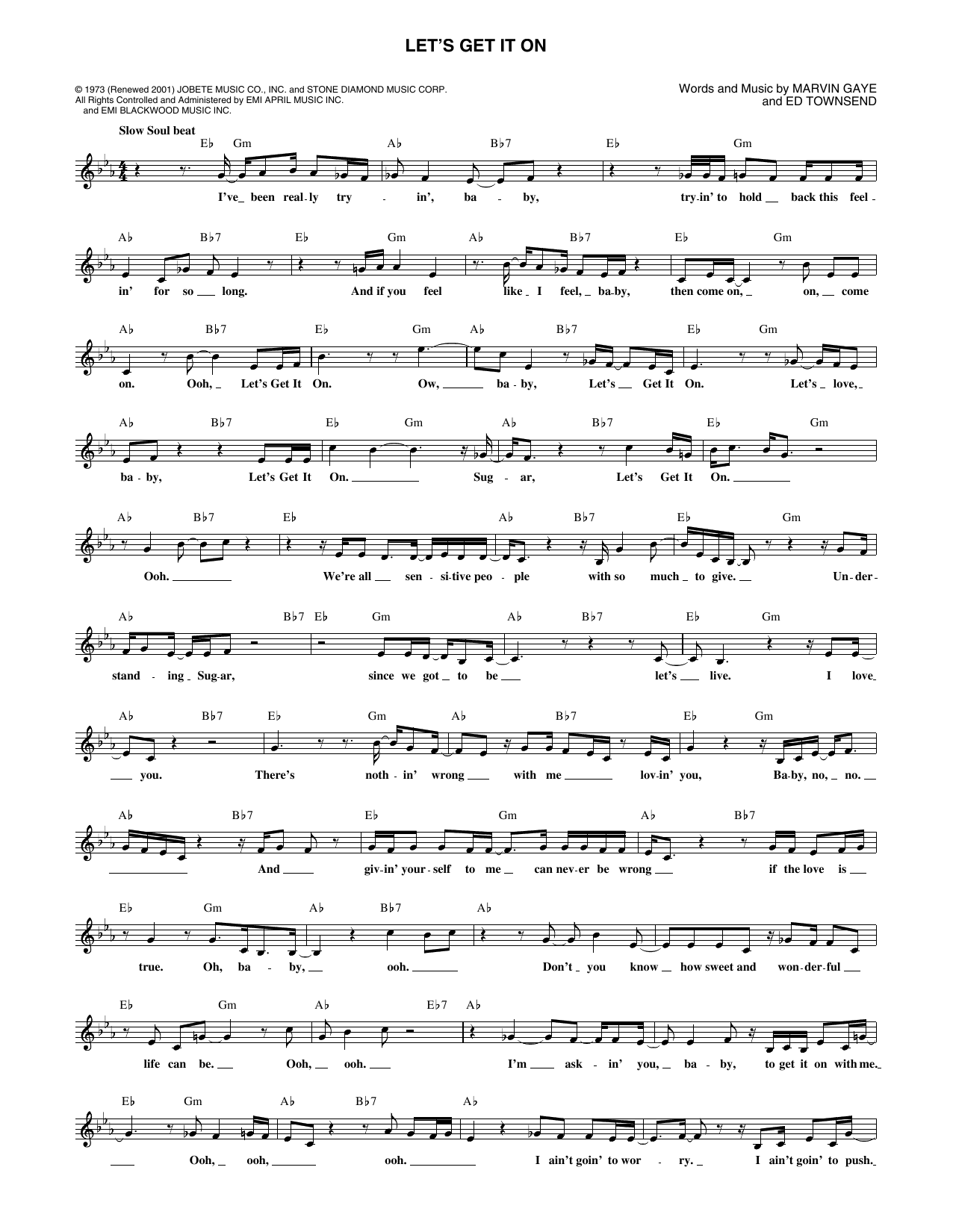 Let's Get It On (Lead Sheet / Fake Book)