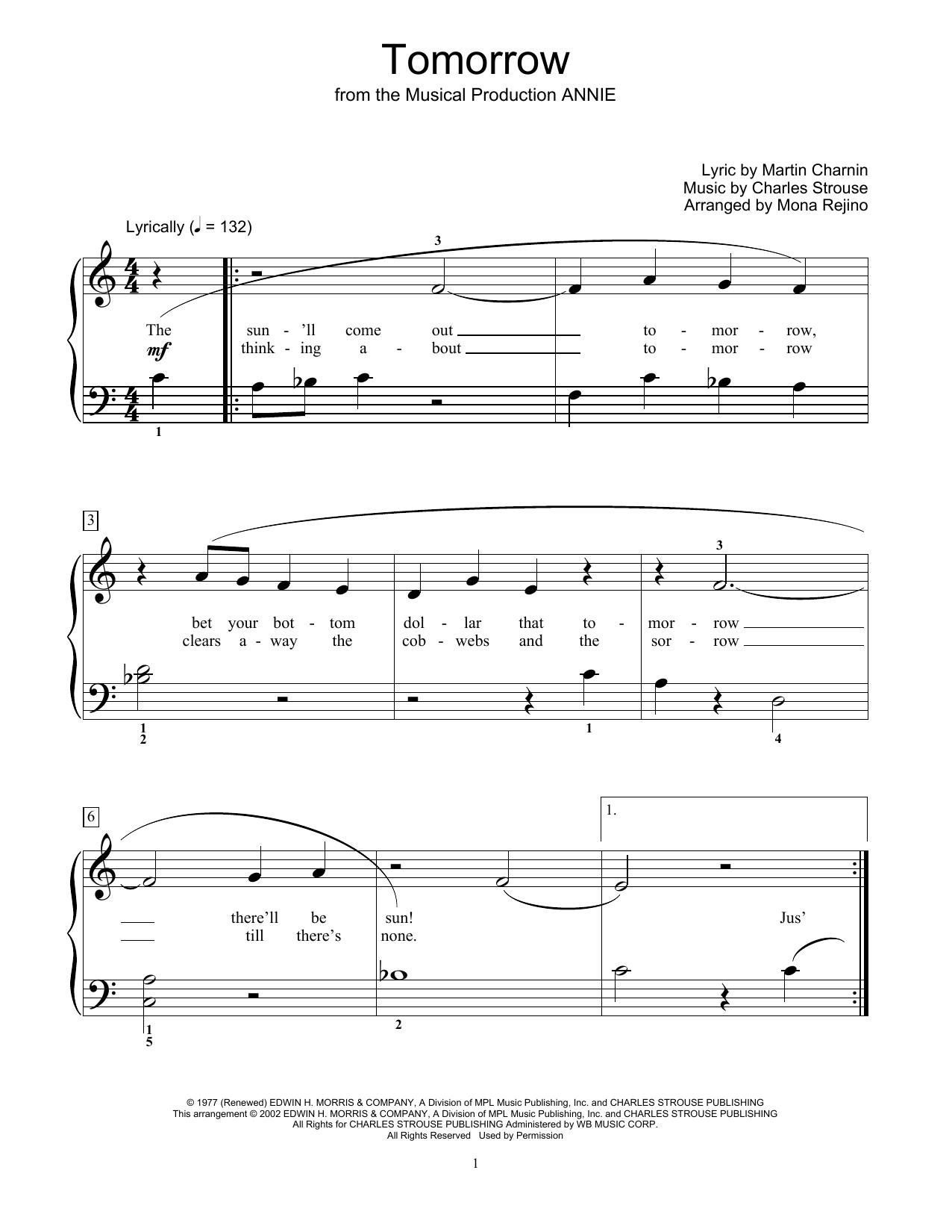 Tomorrow (from Annie) (arr. Mona Rejino) (Educational Piano)