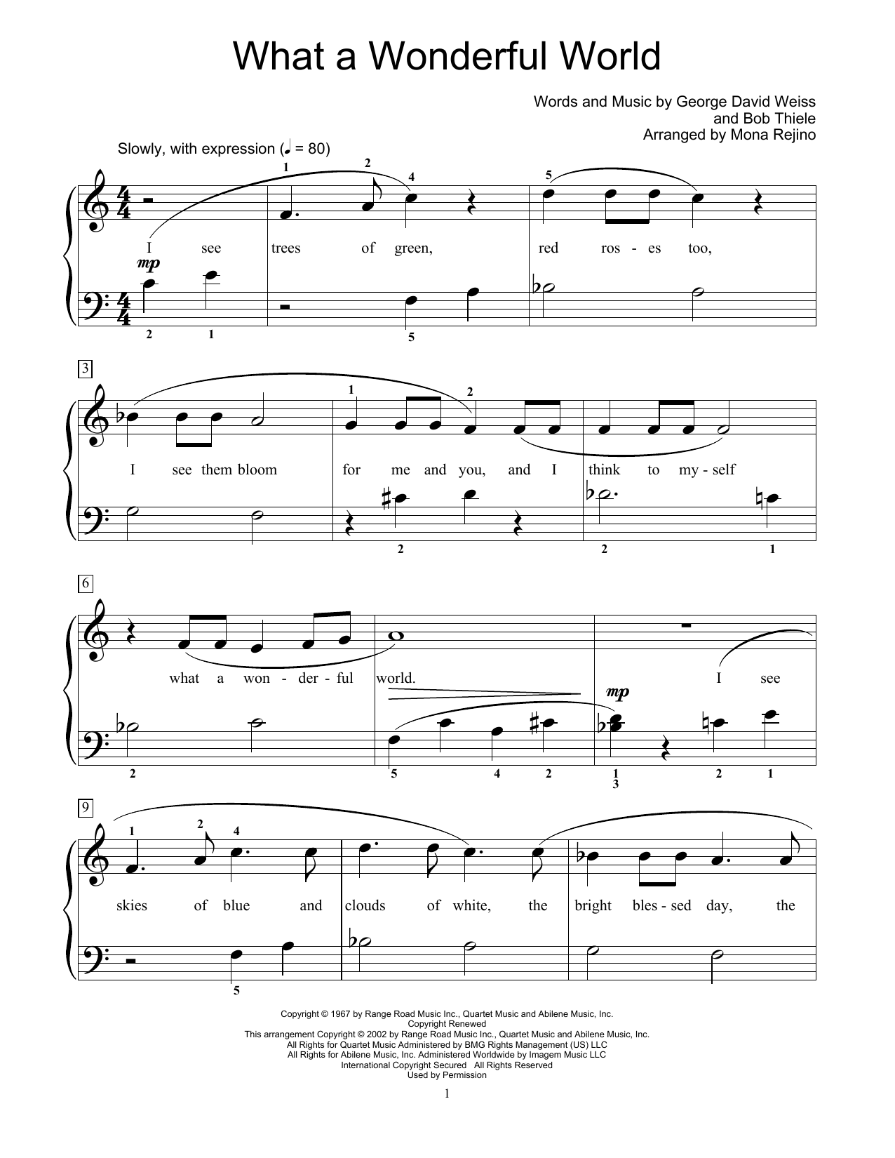 What A Wonderful World (arr. Mona Rejino) (Educational Piano)
