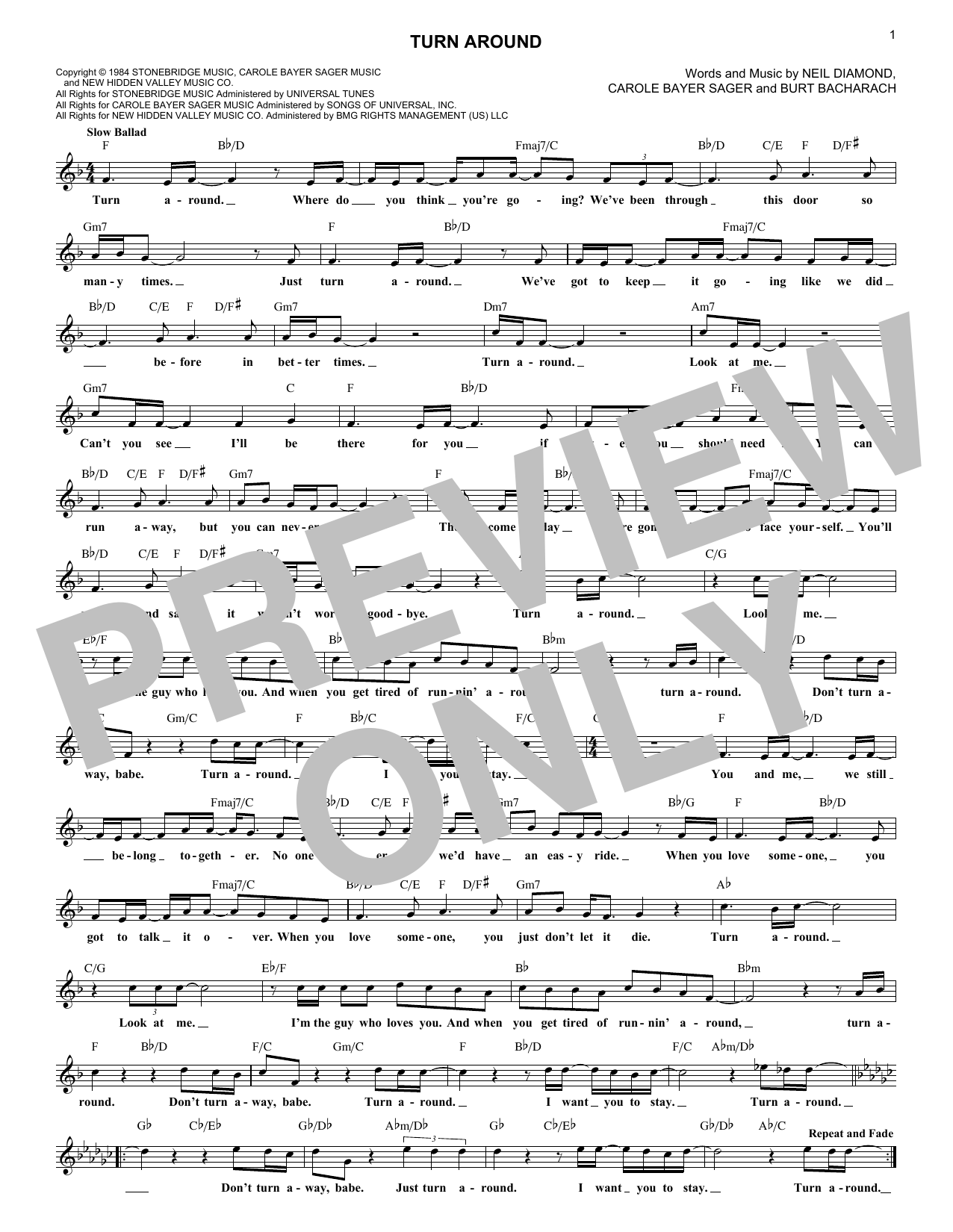 Turn Around (Lead Sheet / Fake Book)
