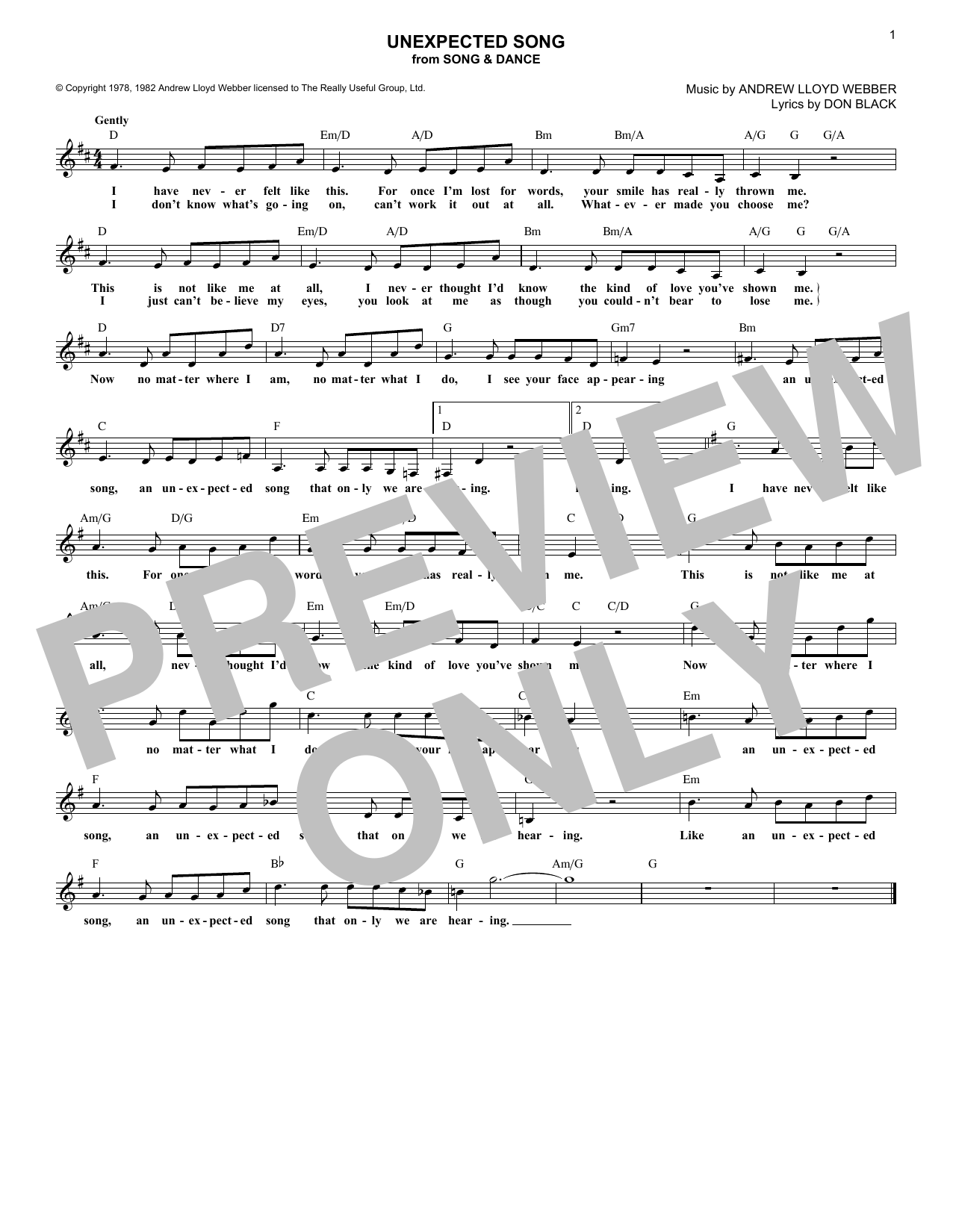 Unexpected Song (Lead Sheet / Fake Book)