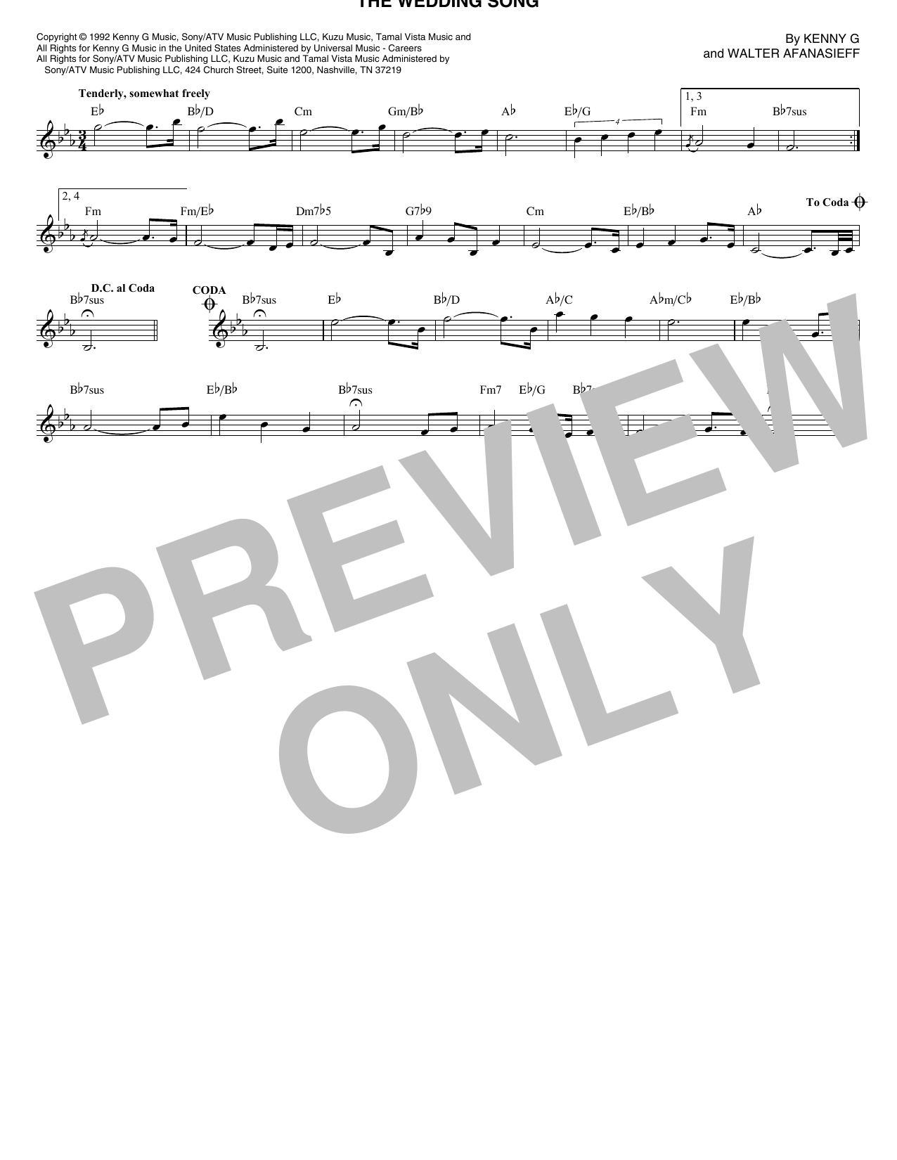 The Wedding Song (Lead Sheet / Fake Book)