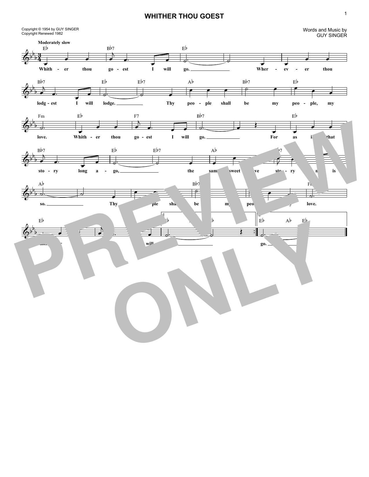 Whither Thou Goest (Lead Sheet / Fake Book)