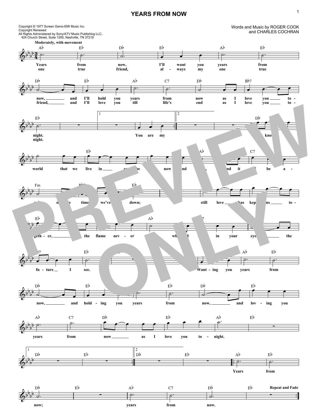 Years From Now (Lead Sheet / Fake Book)