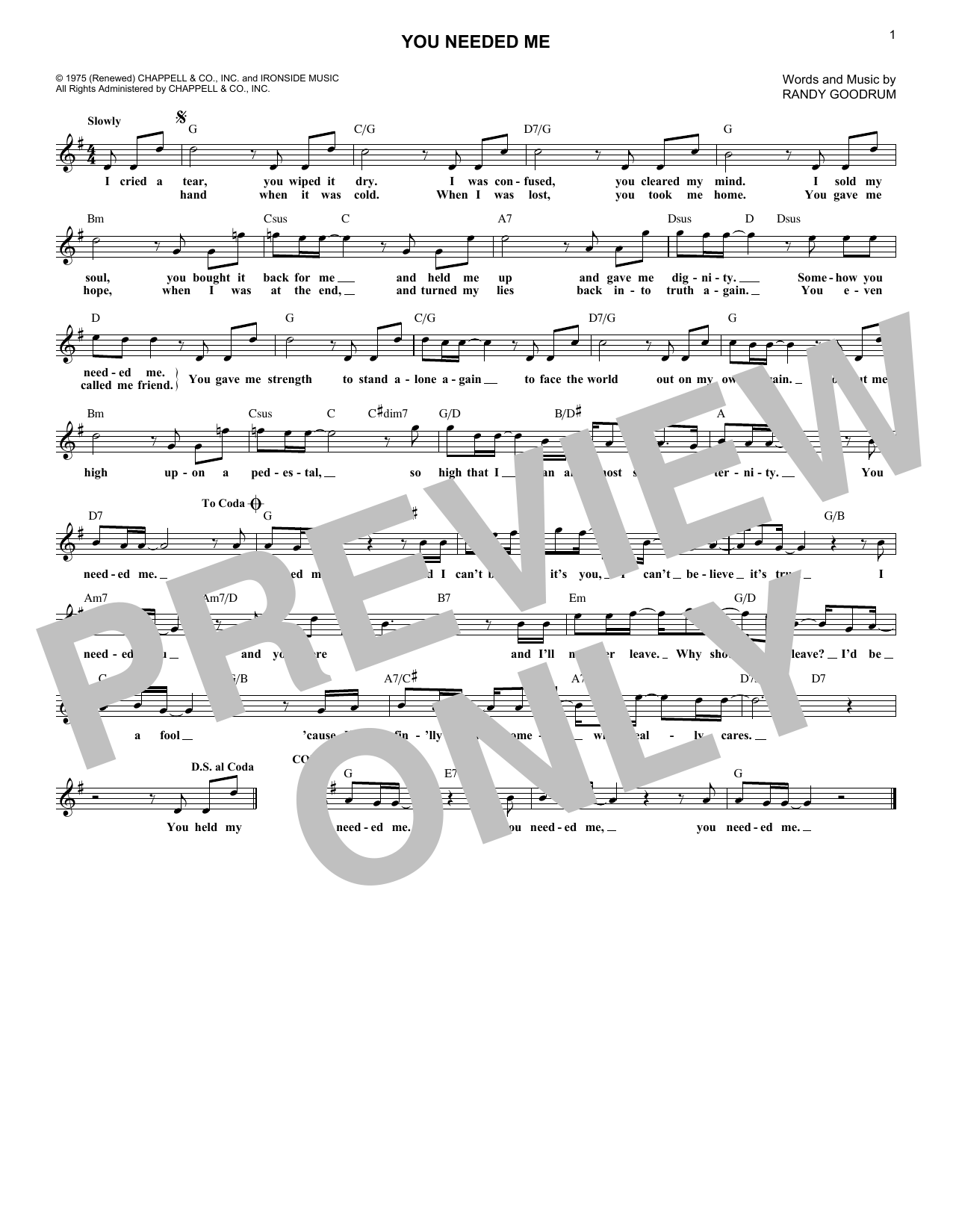 You Needed Me (Lead Sheet / Fake Book)