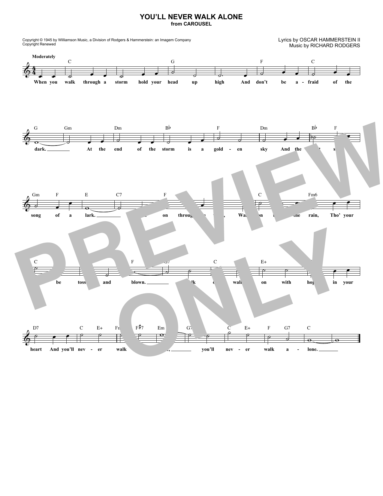You'll Never Walk Alone (from Carousel) (Lead Sheet / Fake Book)