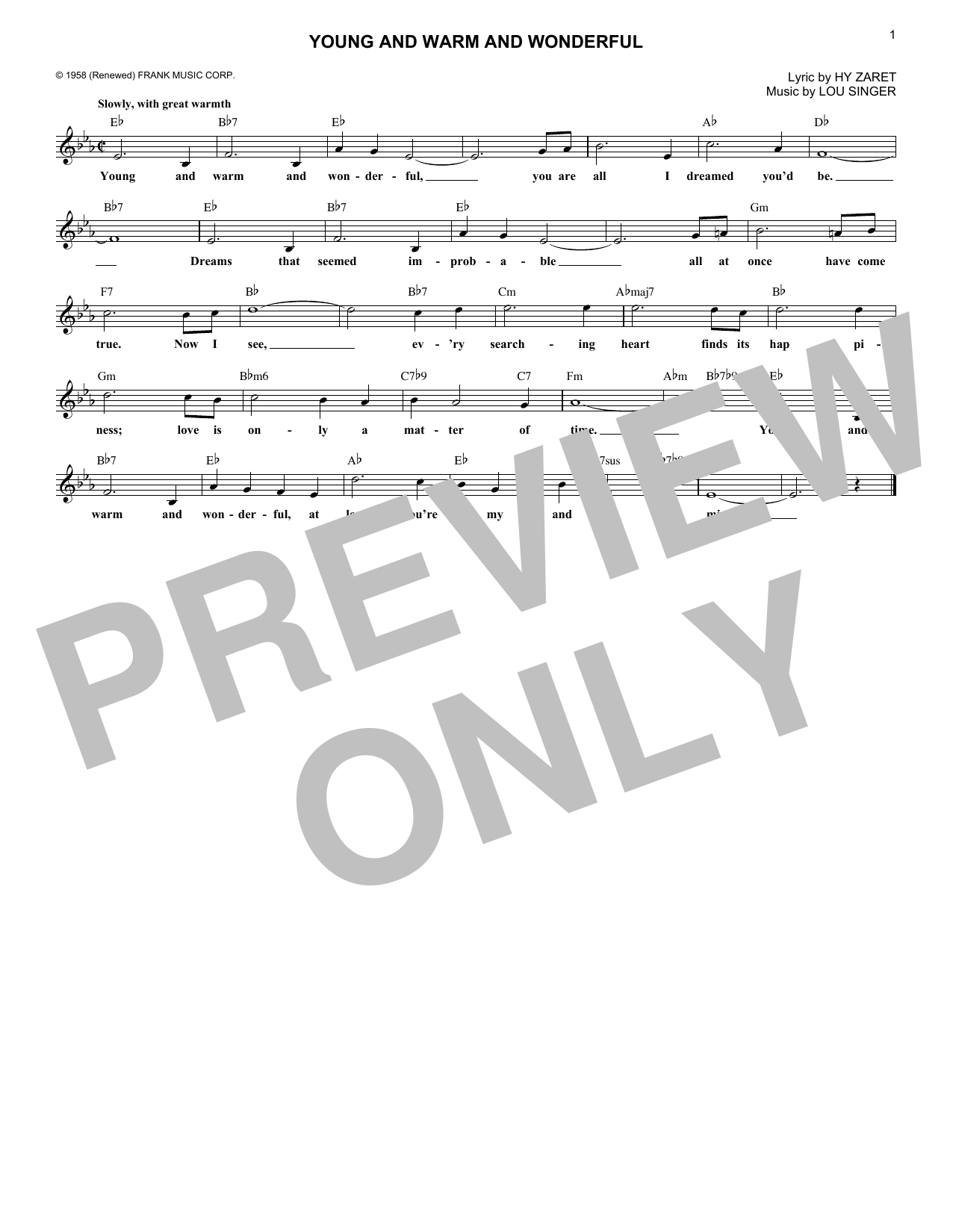 Young And Warm And Wonderful (Lead Sheet / Fake Book)