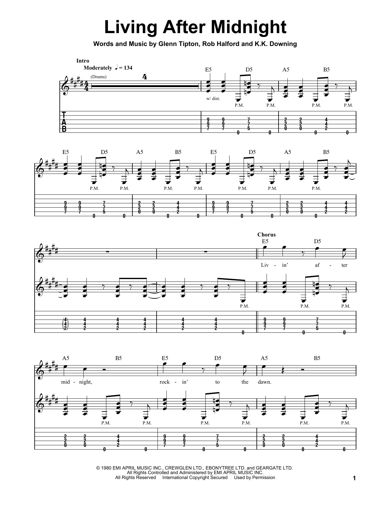 Living After Midnight Sheet Music