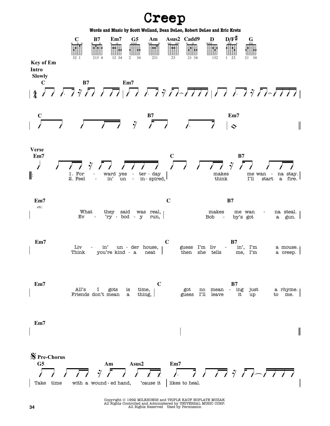Partition autre Creep de Stone Temple Pilots - Tablature Guitare Lead