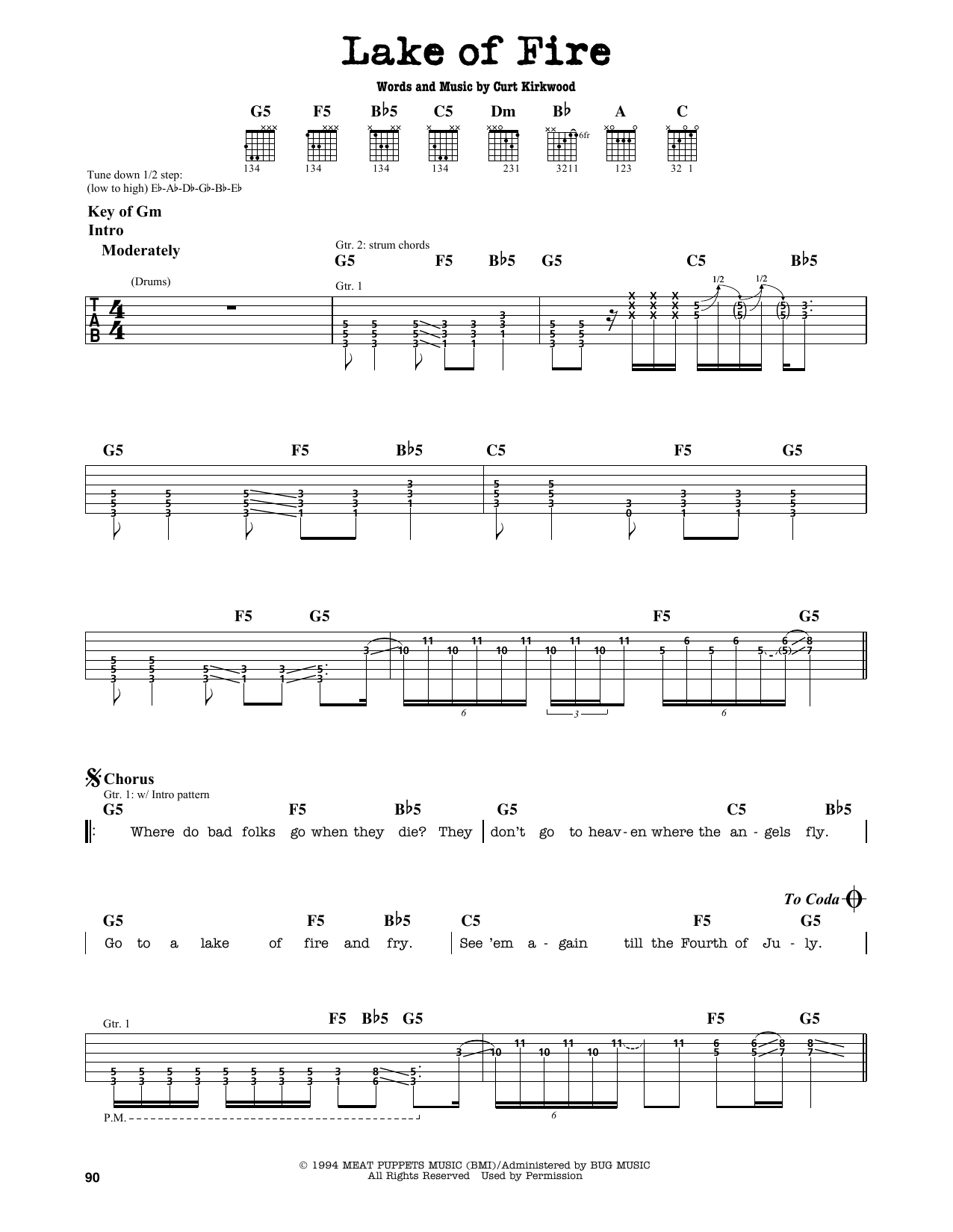 Partition autre Lake Of Fire de Nirvana - Tablature Guitare Lead