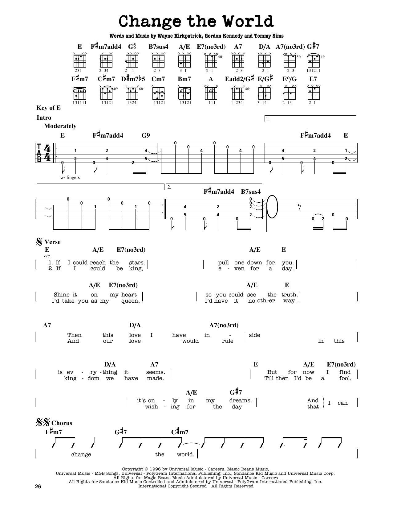 Partition autre Change The World de Eric Clapton - Tablature Guitare Lead