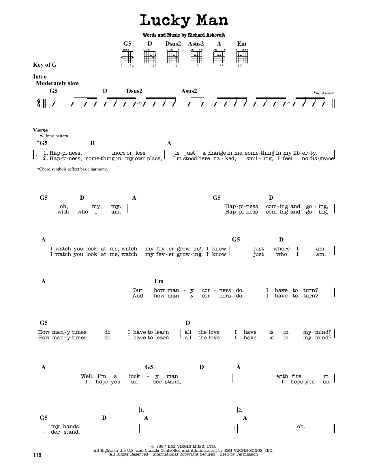 Partition autre Lucky Man de The Verve - Tablature Guitare Lead