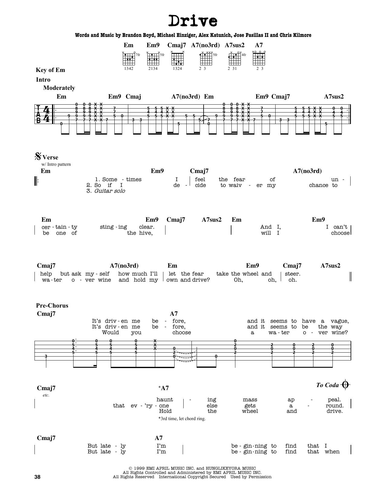 Partition autre Drive de Incubus - Tablature Guitare Lead