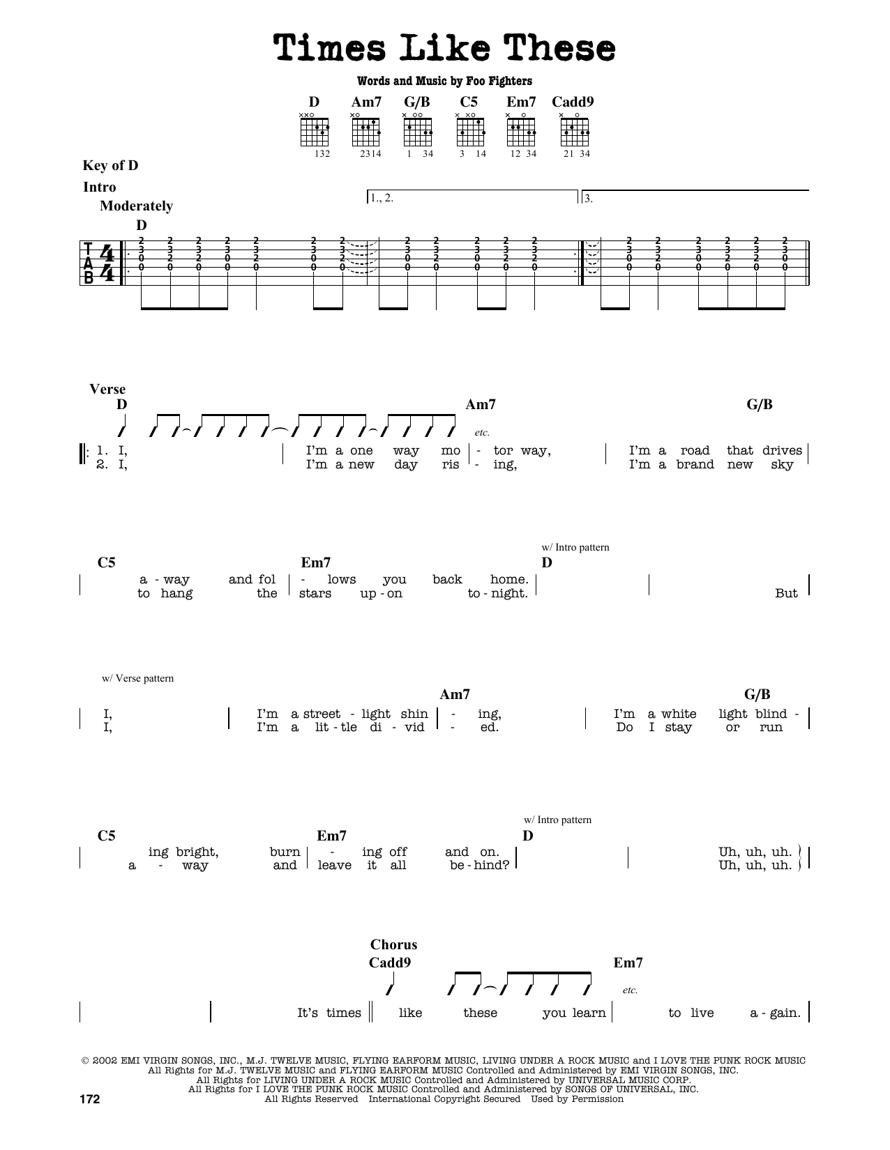 Partition autre Times Like These de Foo Fighters - Tablature Guitare Lead