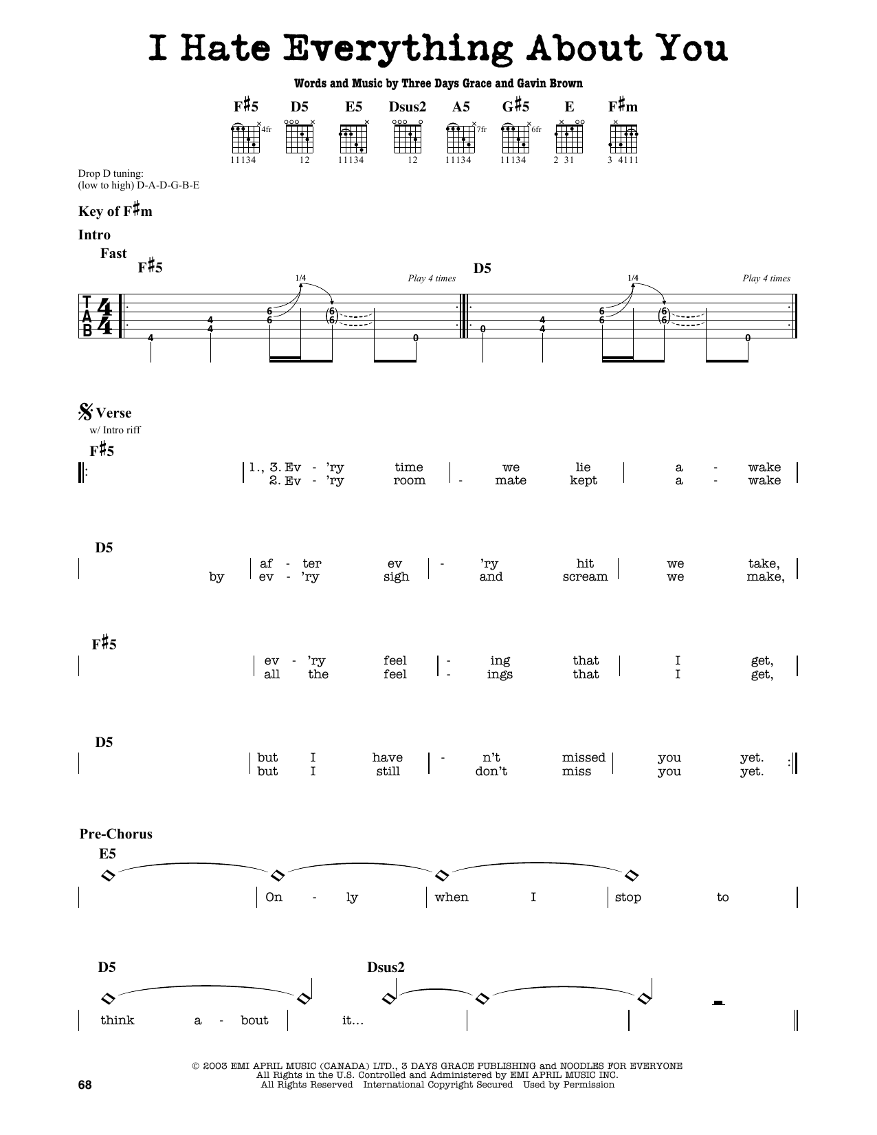 Partition autre I Hate Everything About You de Three Days Grace - Tablature Guitare Lead