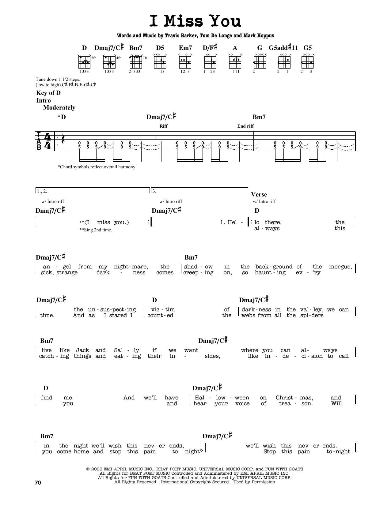 I Miss You By Blink 182 Guitar Lead Sheet Guitar Instructor