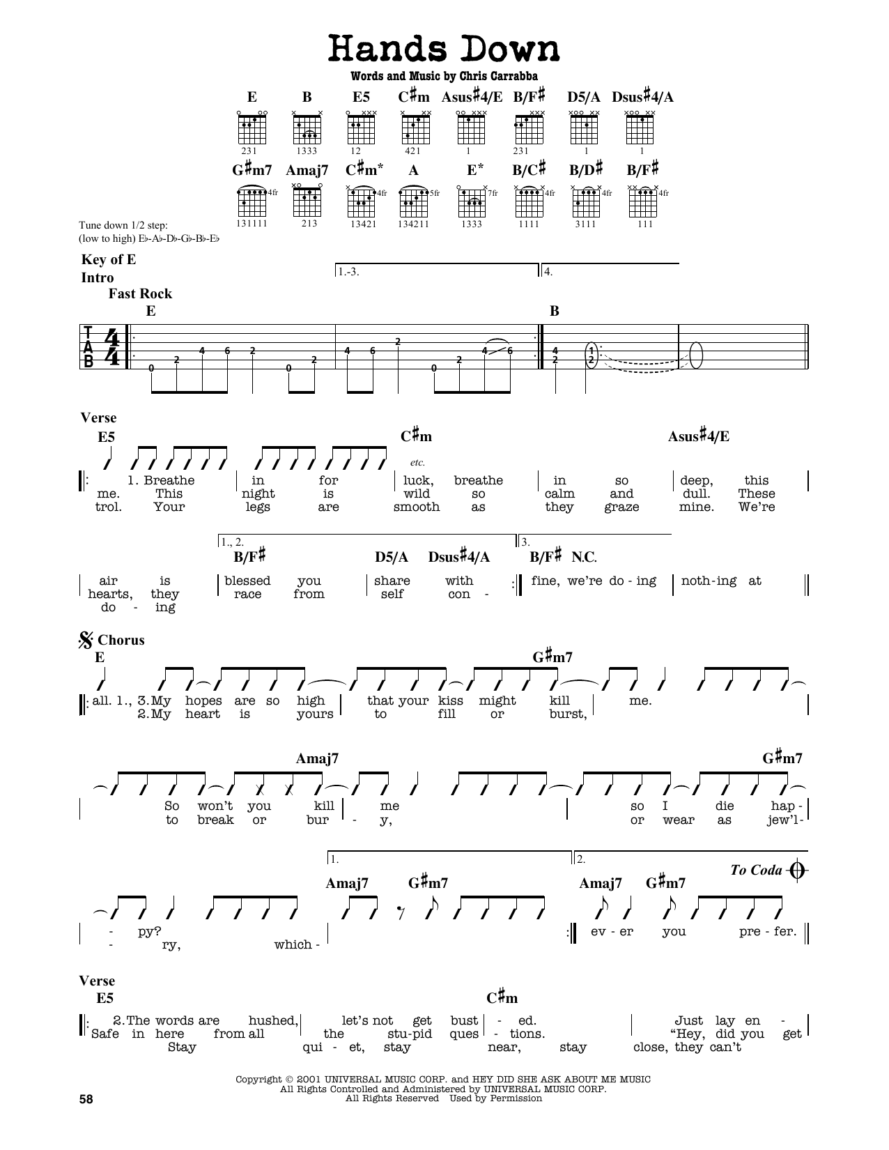 Hands Down Sheet Music