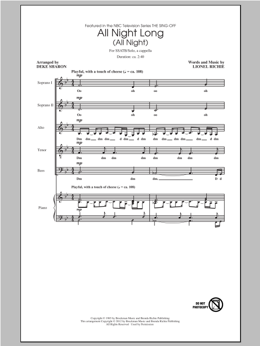 All Night Long (All Night) (arr. Deke Sharon) Sheet Music