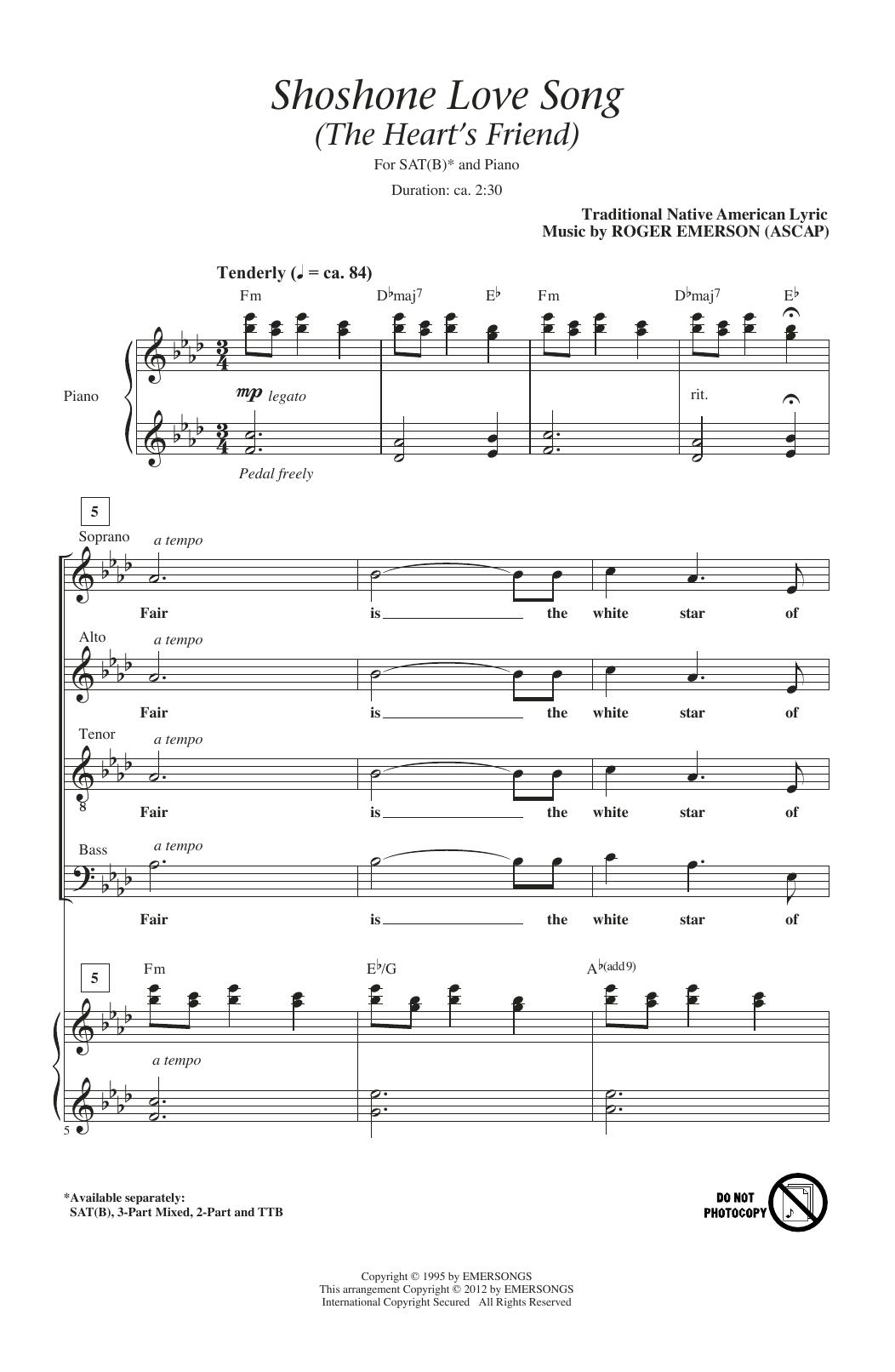Shoshone Love Song (The Heart's Friend) (SATB Choir)