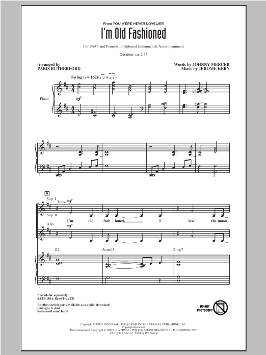 I'm Old Fashioned (arr. Paris Rutherford) Sheet Music