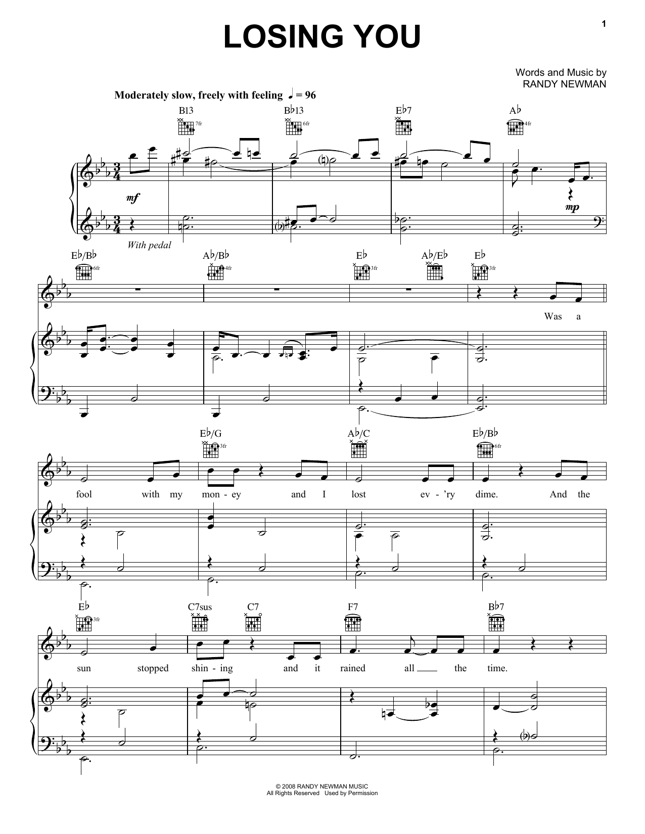 Losing You (Piano, Vocal & Guitar (Right-Hand Melody))
