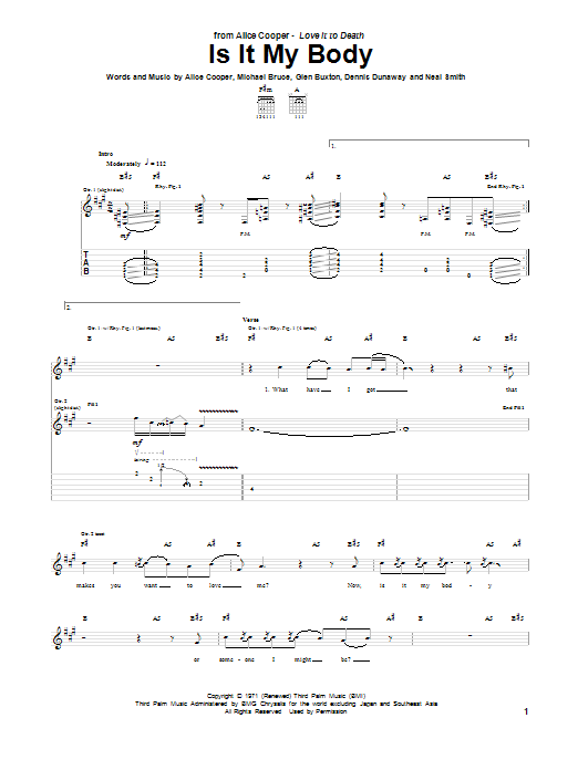 Tablature guitare Is It My Body de Alice Cooper - Tablature Guitare