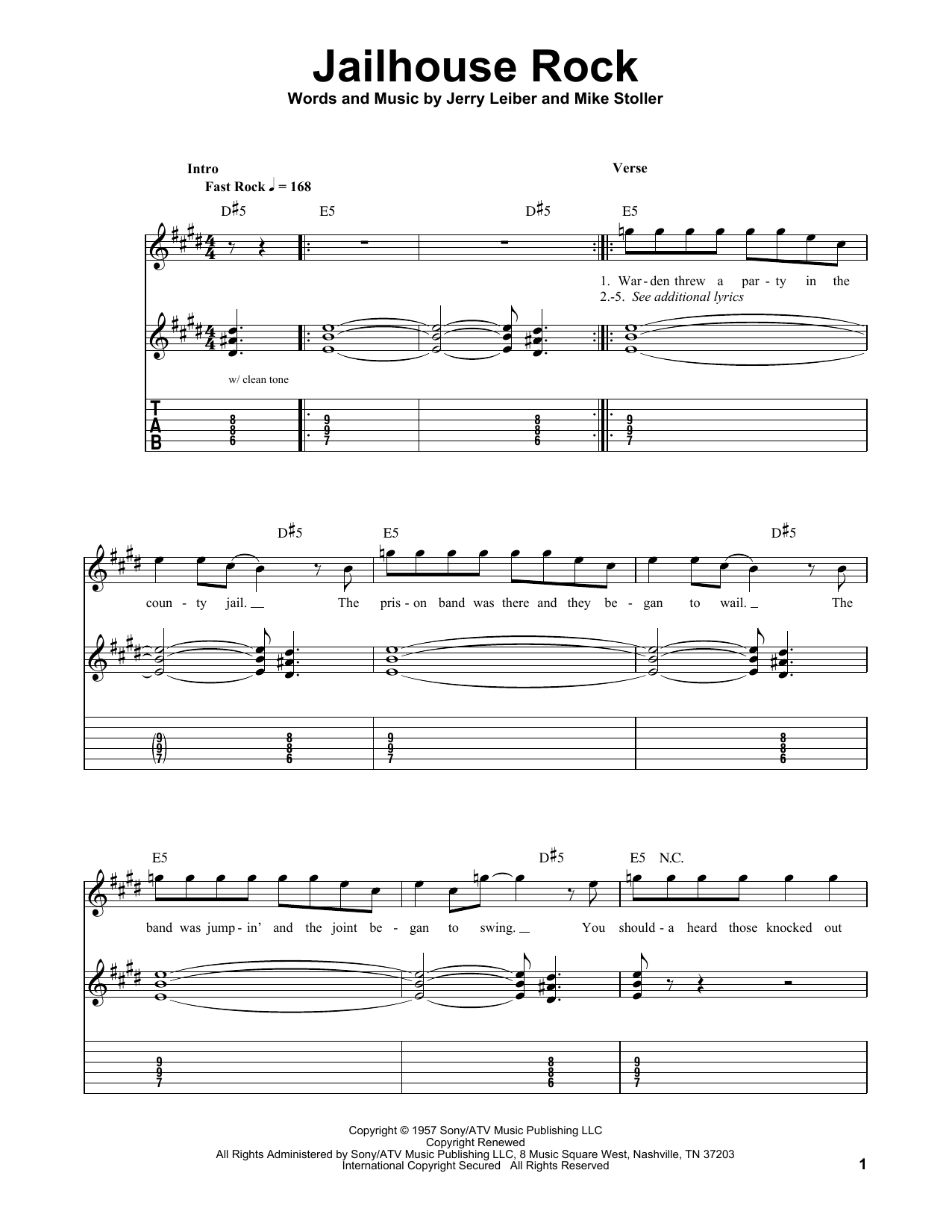Tablature guitare Jailhouse Rock de Elvis Presley - Tablature guitare facile