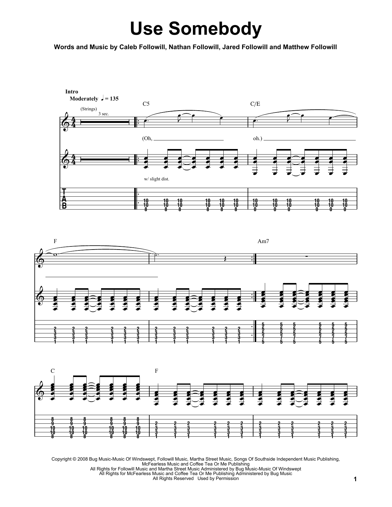 Use Somebody (Easy Guitar Tab)