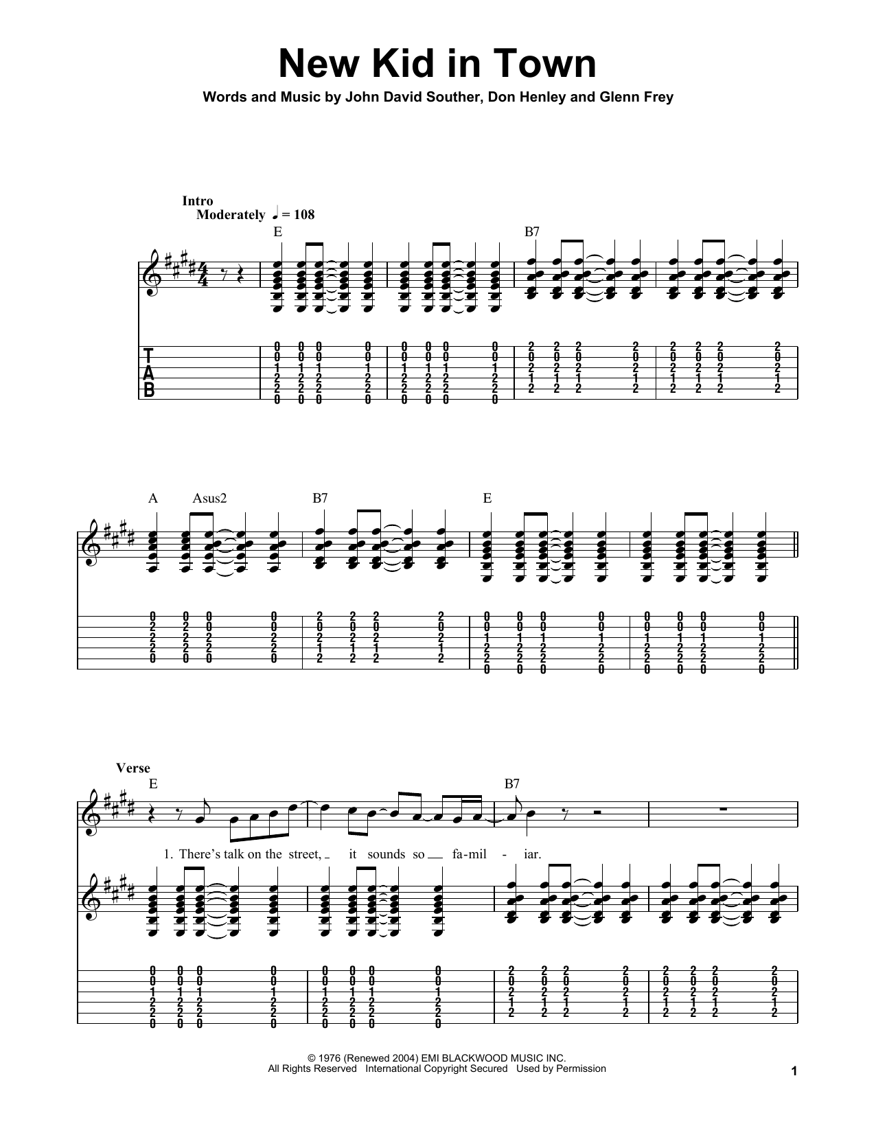 New Kid In Town Sheet Music