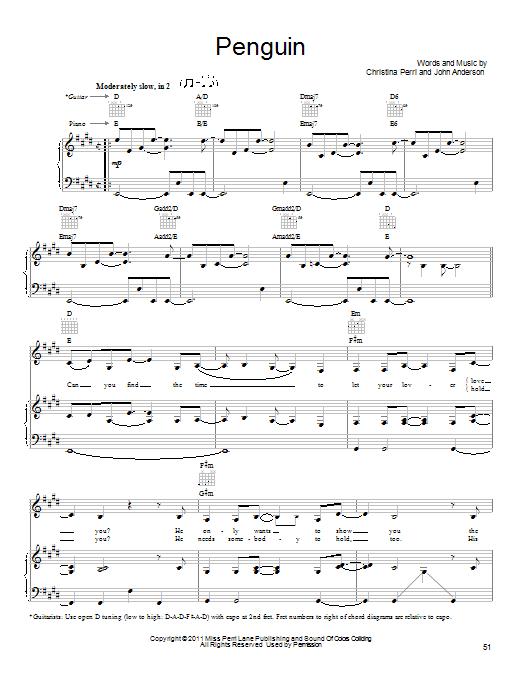 Partition piano Penguin de Christina Perri - Piano Voix Guitare (Mélodie Main Droite)