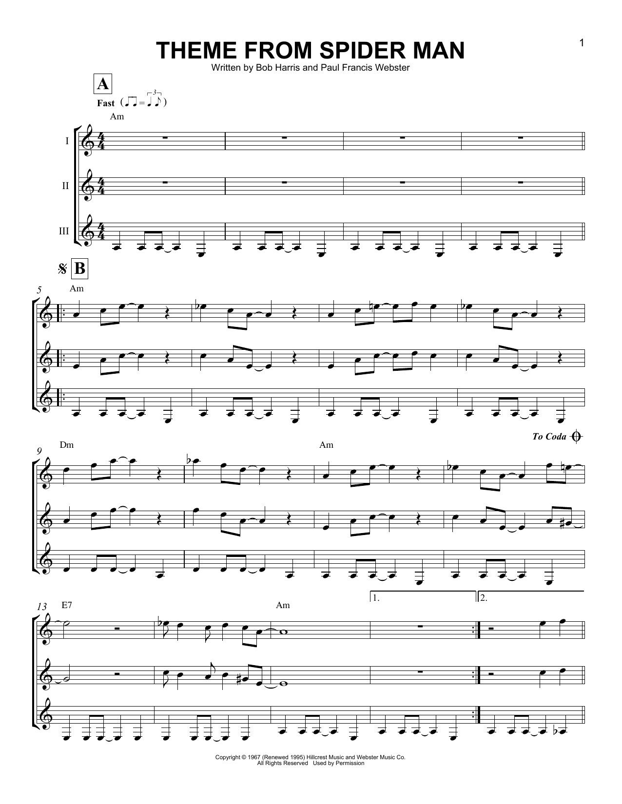 page one of Theme From Spider ManASALTTEXT