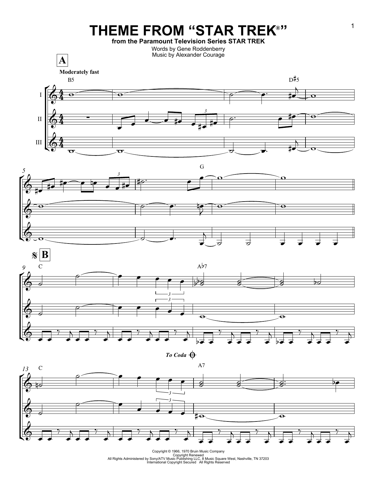 Theme From Star Trek Sheet Music