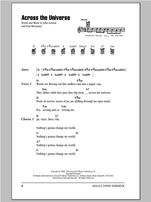 Tablature guitare Across The Universe de The Beatles - Ukulele (strumming patterns)