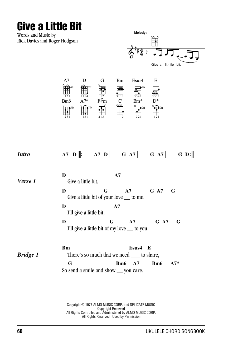 Tablature guitare Give A Little Bit de Supertramp - Ukulele (strumming patterns)