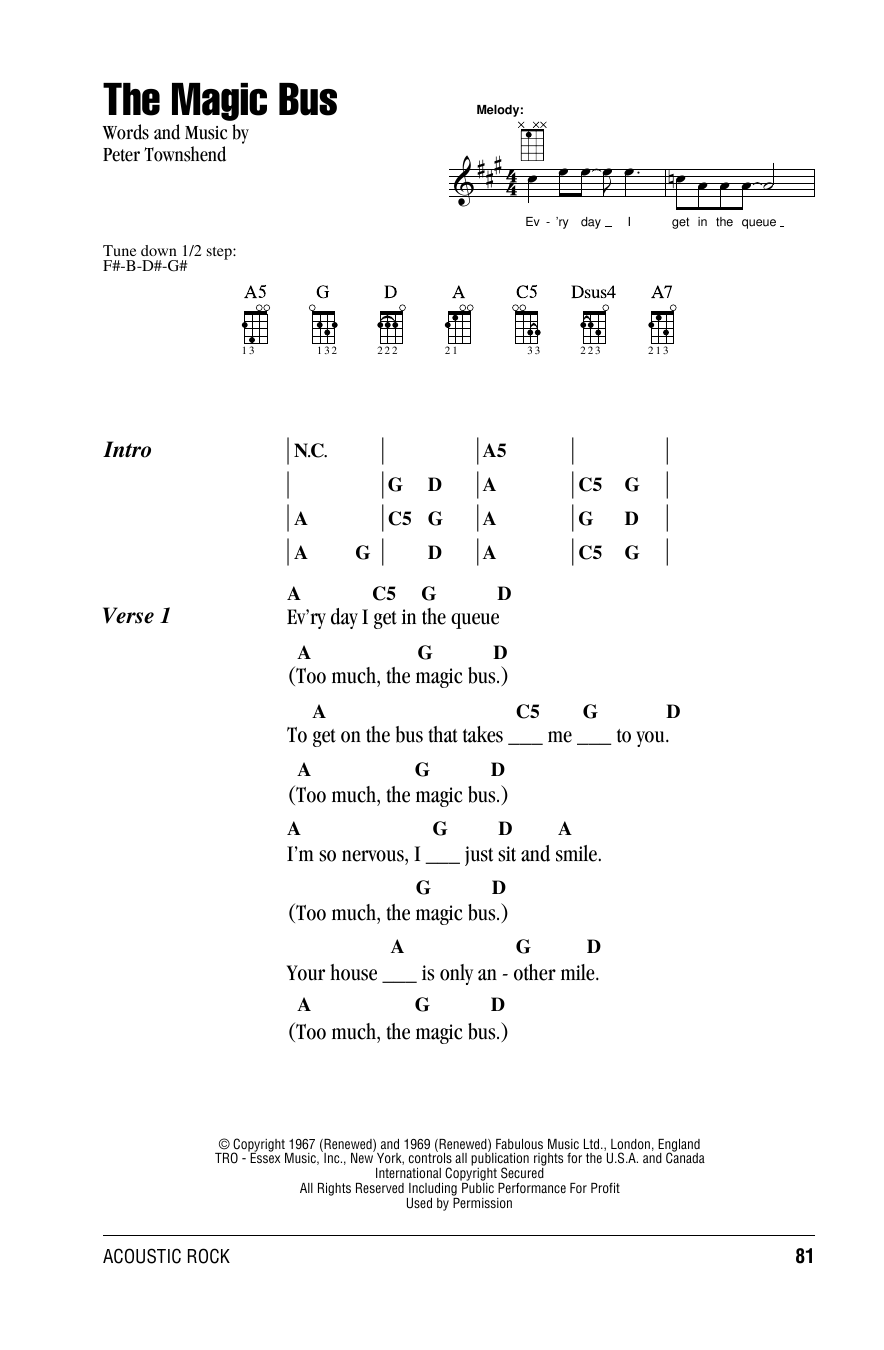 Tablature guitare The Magic Bus de The Who - Ukulele (strumming patterns)